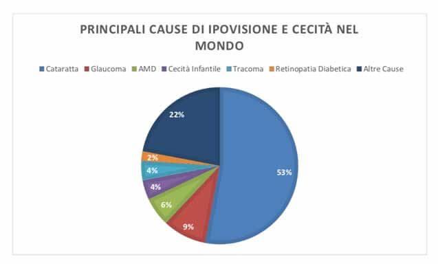 Principali cause di ipovisione nel mondo. Stime effettuate dall'OMS nel 2010 su 285 milioni di disabili visivi.
