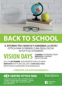 Back to School! offerta Vision Days con Ottica Fava Roma